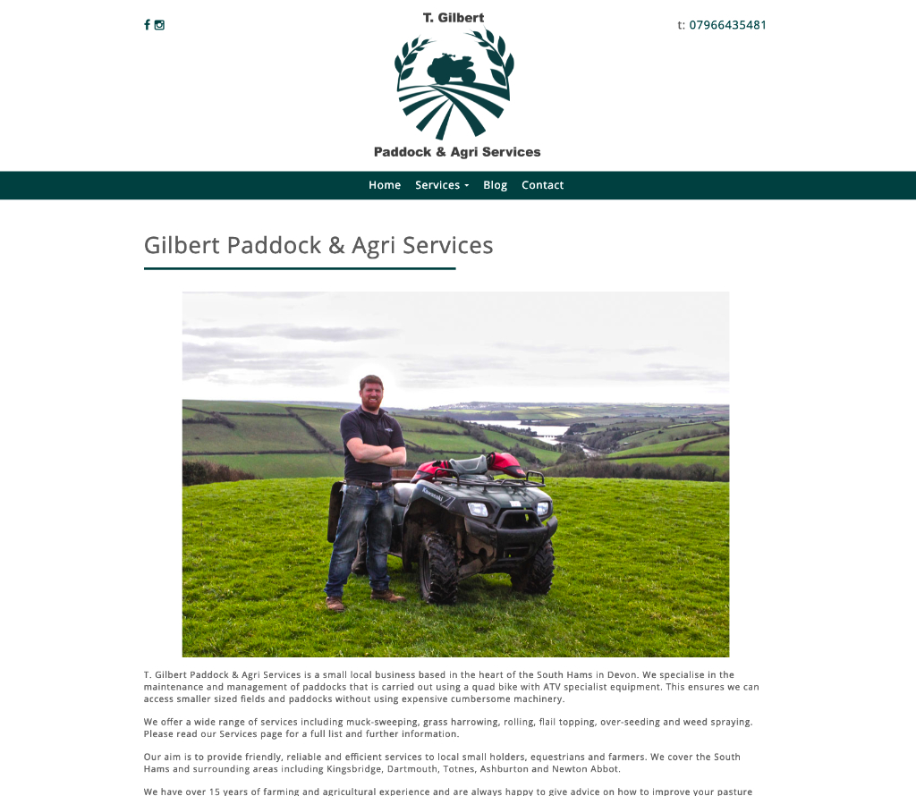 Website Design for local South Hams Agri Services Business